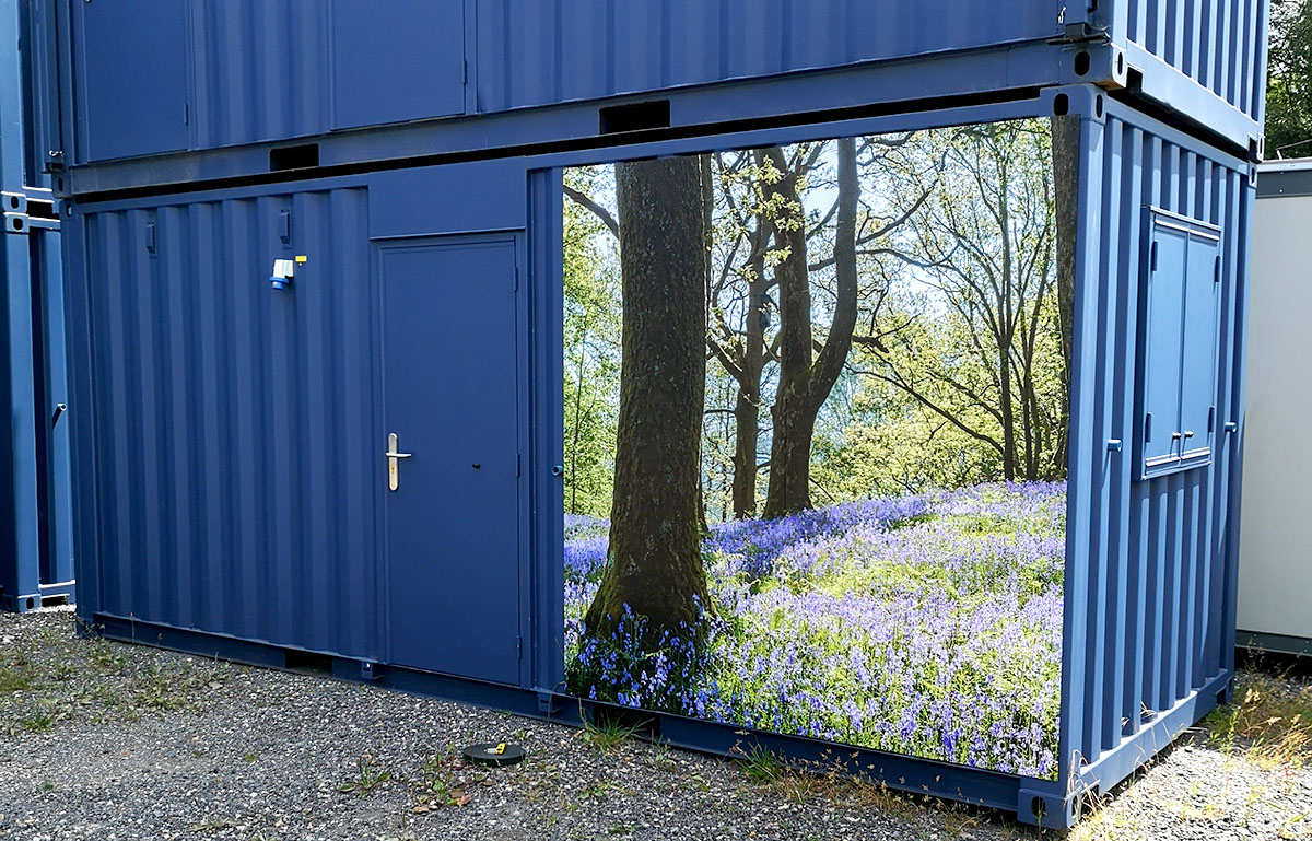 New 20ft x 8ft Portable Building With Woodland Scene Panel £2900+Vat.
