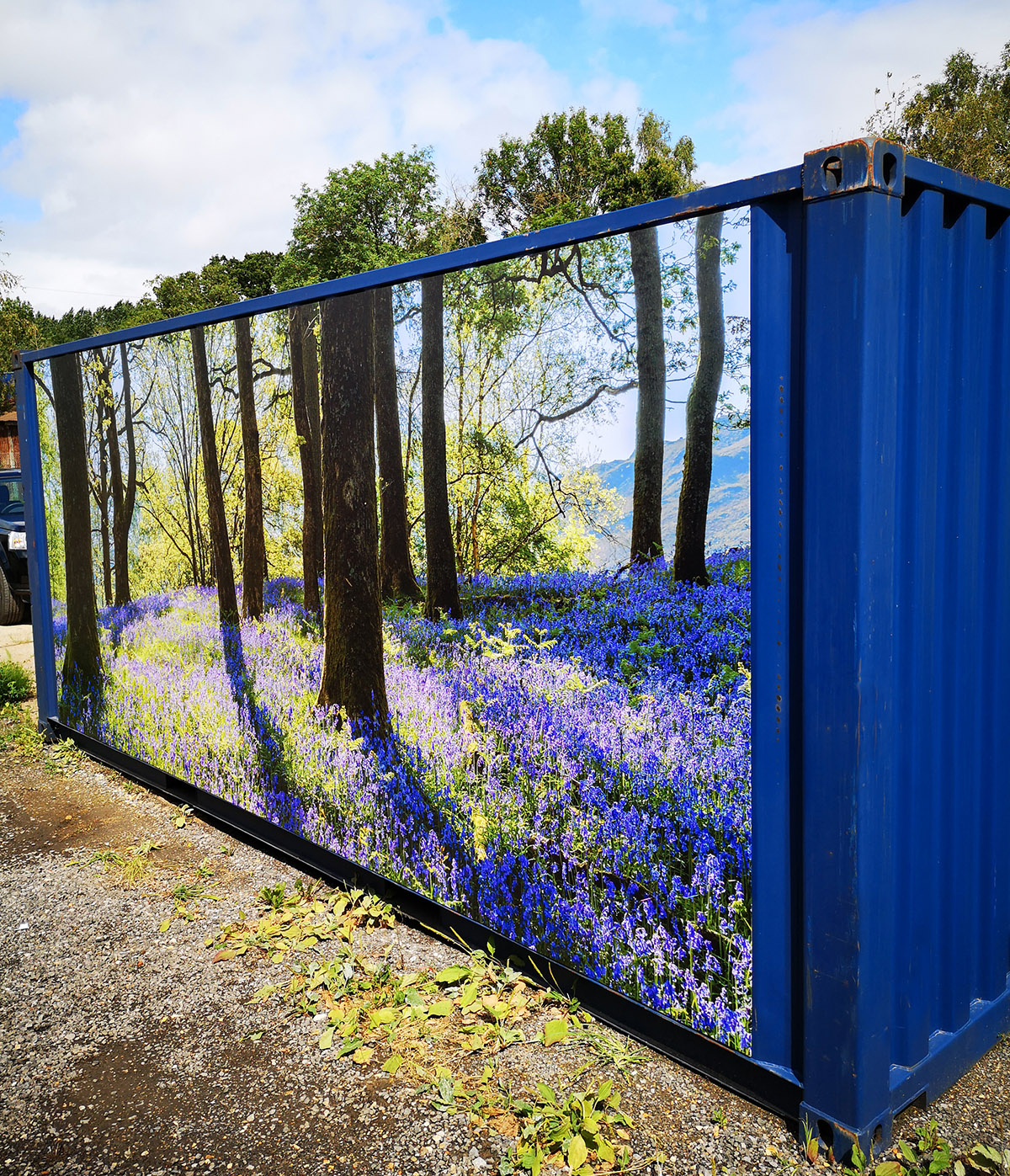 New 20ft x 8ft One Way Shipper Container With Woodland Scene Panel £2900+Vat